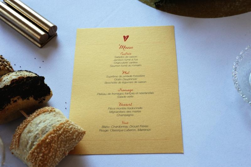 Exemple de menus pour mariage Villersexel
